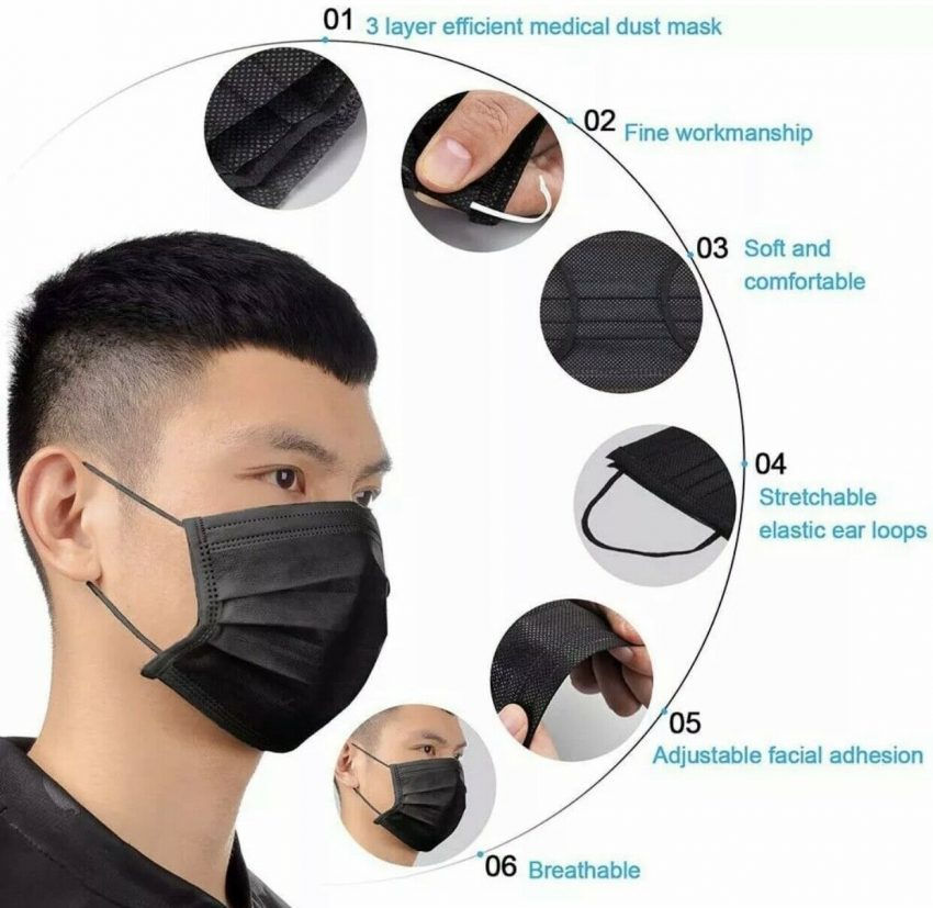 50/100 PCS Color Face Mask Mouth & Nose Protector Respirator Masks with Filter 1