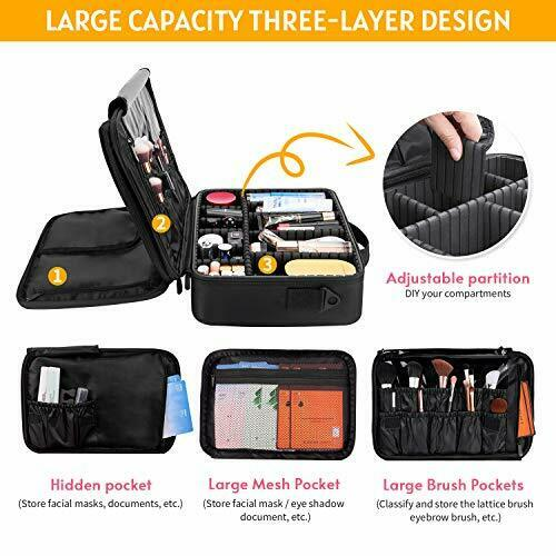 Makeup Train Case 5 Layer Waterproof Large Capacity Travel Cosmetic Small - Black 2