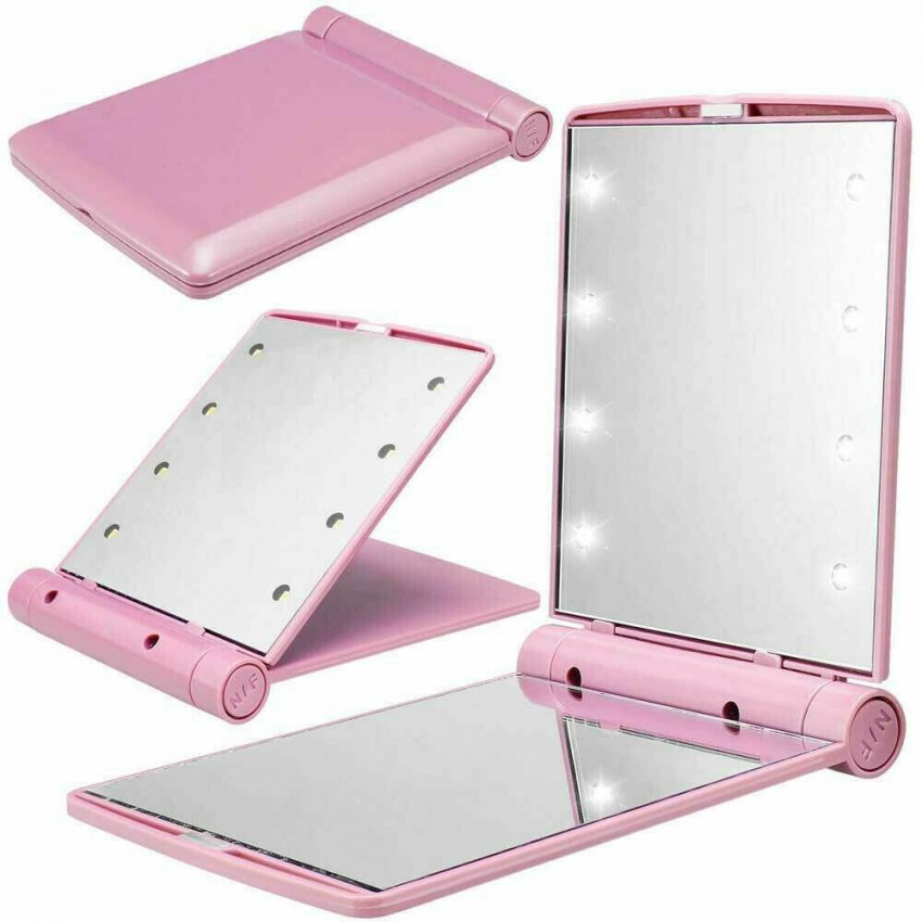 Makeup Mirror Compact Cosmetic Folding Portable Pocket with 8 LED Lights Lamps 5