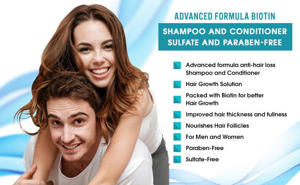 Biotin Hair Growth Shampoo and Conditioner Set Anti Hair Loss With DHT Blockers 9