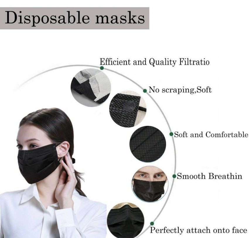 50/100 PCS Color Face Mask Mouth & Nose Protector Respirator Masks with Filter 6