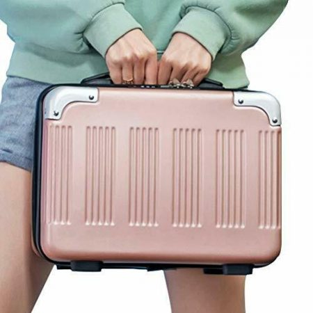 14inch Small Hard Shell Cosmetic Case Travel Hand Luggage Portable Rose gold