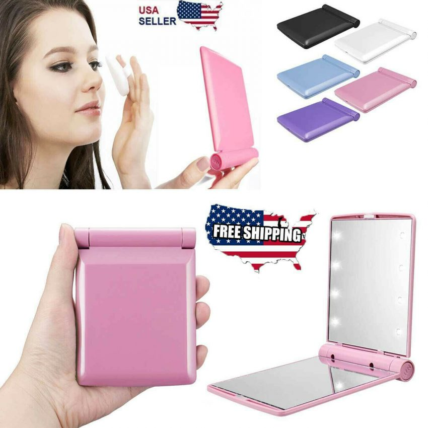 Makeup Mirror Compact Cosmetic Folding Portable Pocket with 8 LED Lights Lamps