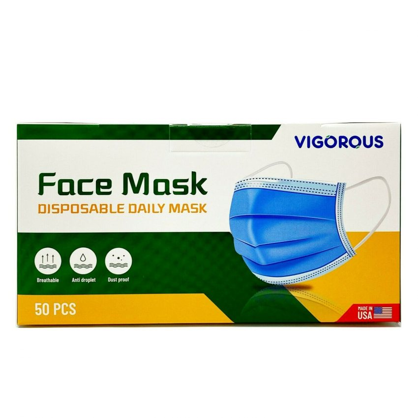 MADE IN USA 50 PCS Protective Face Mask Breathable Non-Woven Mouth Cover - Blue 1