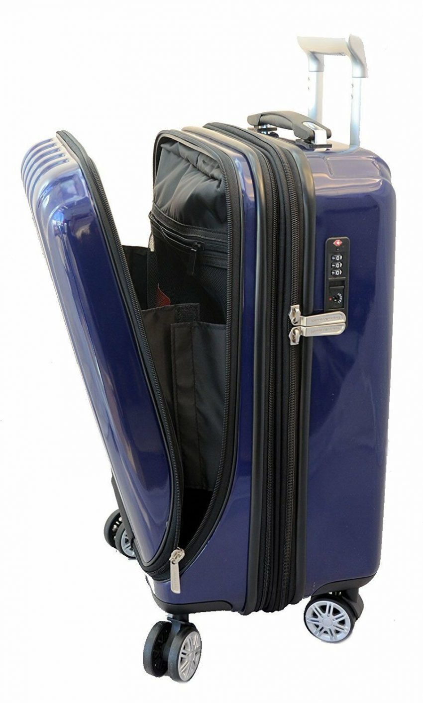 """20"""" Carry-on Luggage Expandable Spinner Trolley + Zippered Computer Pocket 4"""