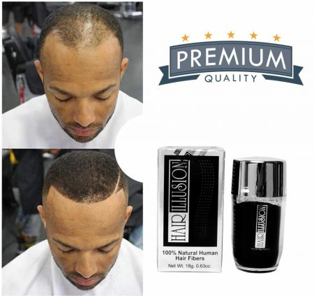 Real Hair Building Fibers by HAIR ILLUSION Instant Hair Loss Recovery Black 18g