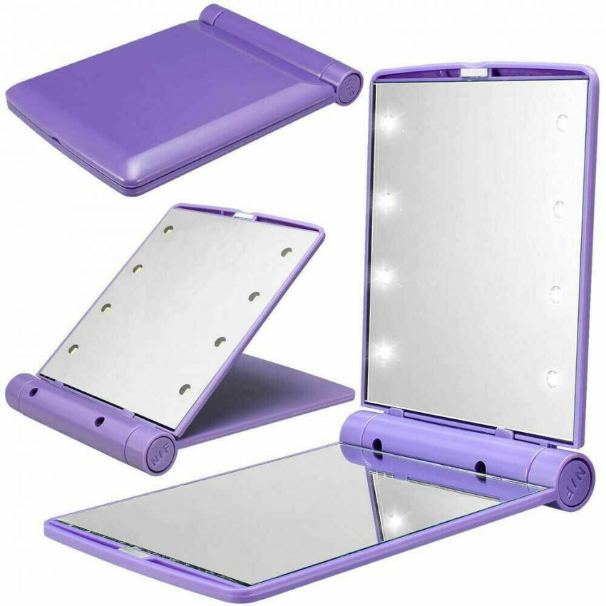 Makeup Mirror Compact Cosmetic Folding Portable Pocket with 8 LED Lights Lamps 6